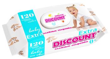 Салфетка влажная Discount Premium 120шт с клапаном 1/13