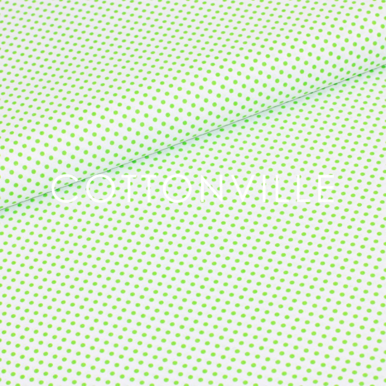 Бязь Горошки 3 мм світло-зелені на білому