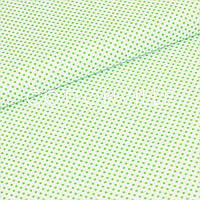 Бязь Горошки 3 мм світло-зелені на білому, фото 1