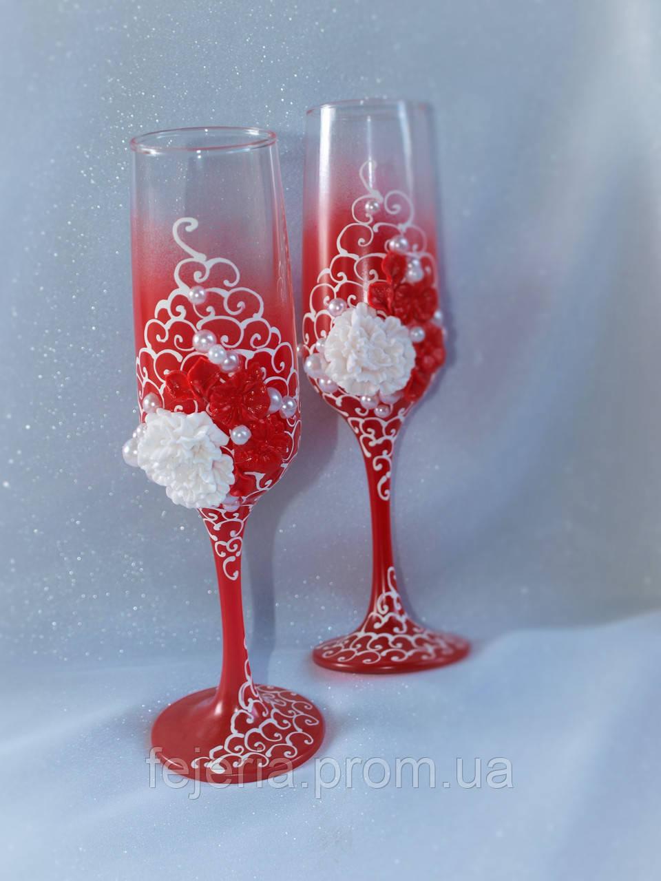 Бокалы свадебные красные