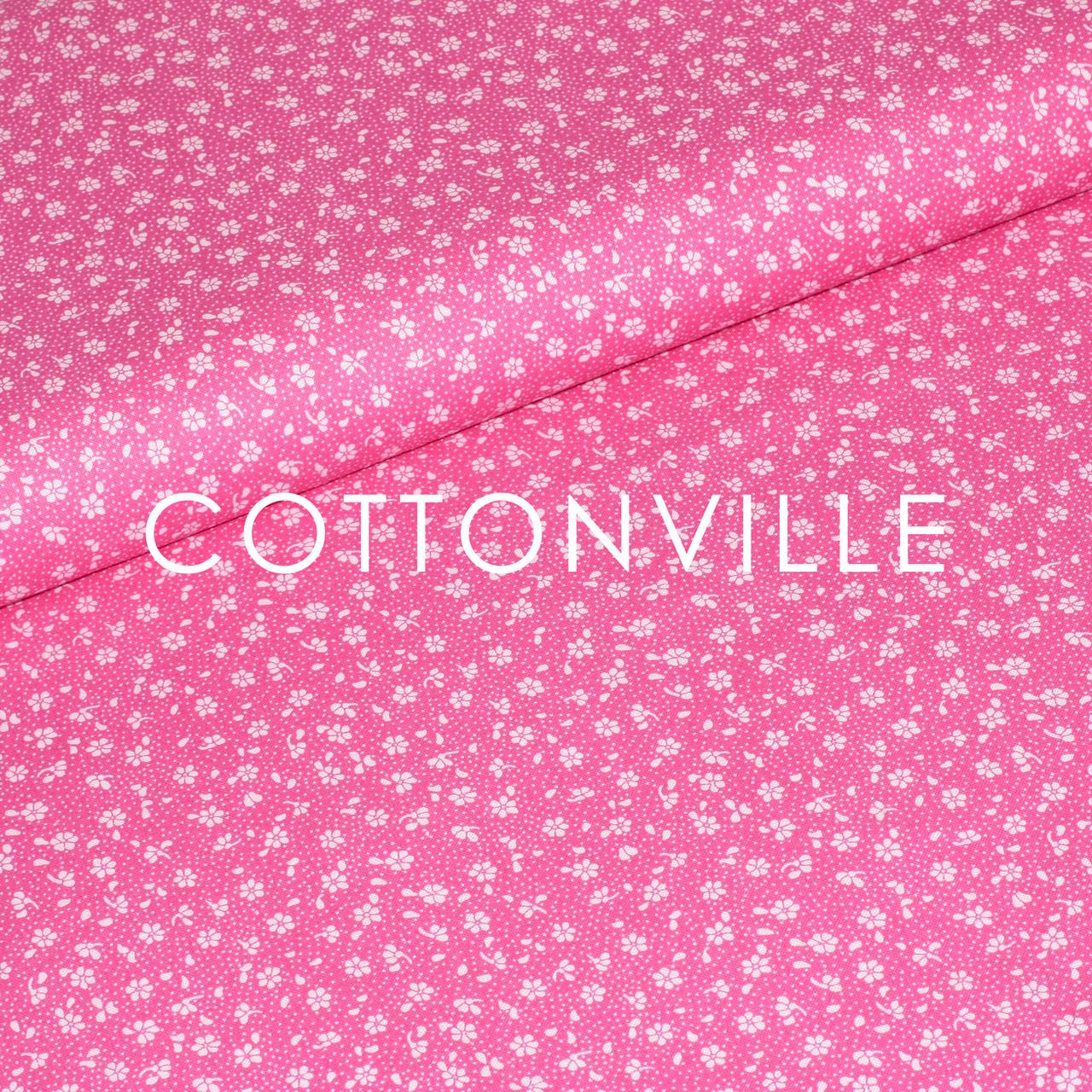 Бязь Цветочки мини, розовый фон