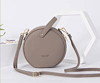 Маленькая женская модная оригинальная круглая сумочка WEICHEN через плечо серая