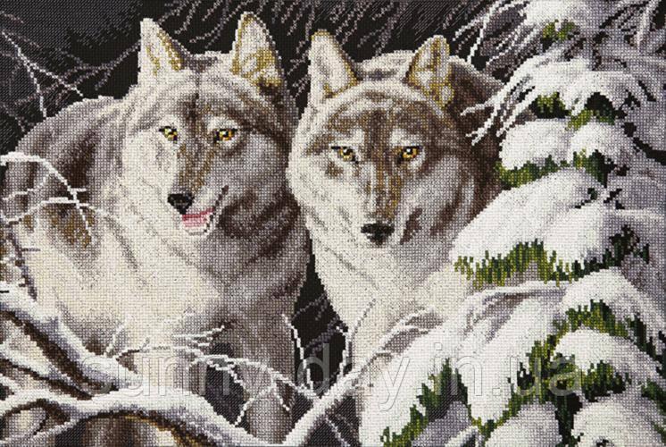 """Набор для вышивки крестиком """"Волки в зимнем лунном свете"""""""
