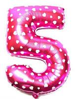 """Фольгированный воздушный шар Цифра """"5"""" 65 см Розовый"""