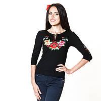 Вышитая женская футболка с рукавом 3/4. Калинове диво, фото 1
