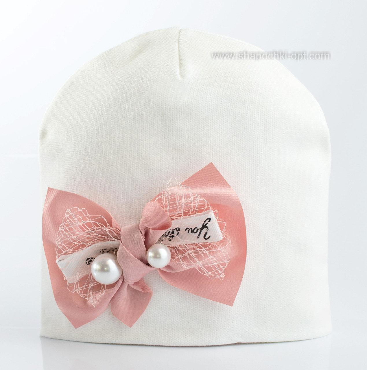 Шапочка для девочек  размер 50-56 см молочная