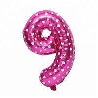 """Фольгированный воздушный шар Цифра """"9"""" 65 см Розовый"""