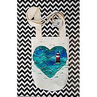 Текстильная сумка с росписью ручной работы.
