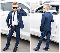 Детский стильный школьный костюм пиджак и штаны школьная форма для мальчика размер:116,122,128,134,140,146