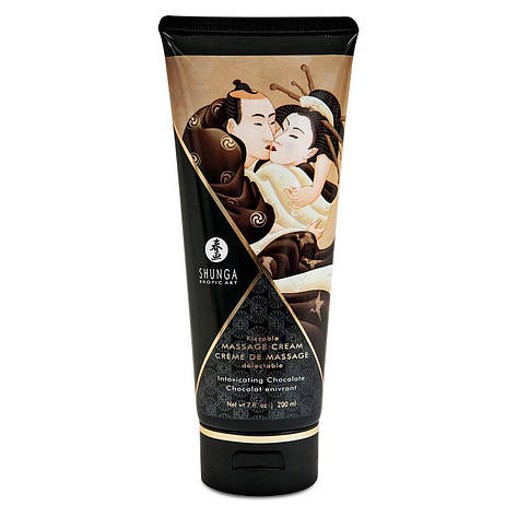 Съедобный массажный крем Shunga KISSABLE MASSAGE CREAM - Intoxicating Chocolate (200 мл), фото 2