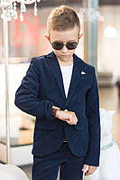 Школьный костюм пиджак и брюки для мальчика вельвет черный и синий размер: от 122 до 152