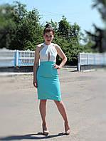Платье мятное с белым верхом по фигуре