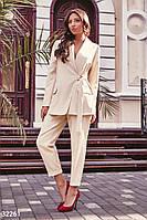 Брючный женский костюм, в деловом стиле,бежевый S M