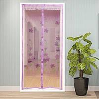 Москитная сетка на дверь от комаров на раздельных магнитах розовая 210х100 см