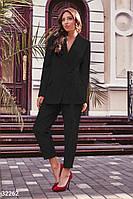 Брючный женский костюм, в деловом стиле, черный S M