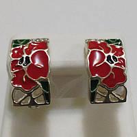 Серьги из серебра Маки с красной эмалью, фото 1