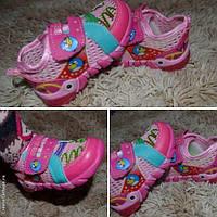 Детские мокасины сеточка Энгри Бердс с подсветкой 21 22 23р  розовые