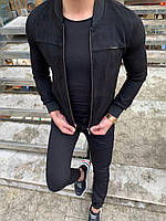 Бомбер мужской черный из ткани под замш на тонком меху