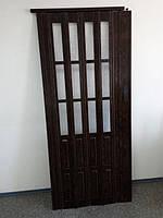 Дверь раздвижная  гармошка полуостекленная, 7103 Орех