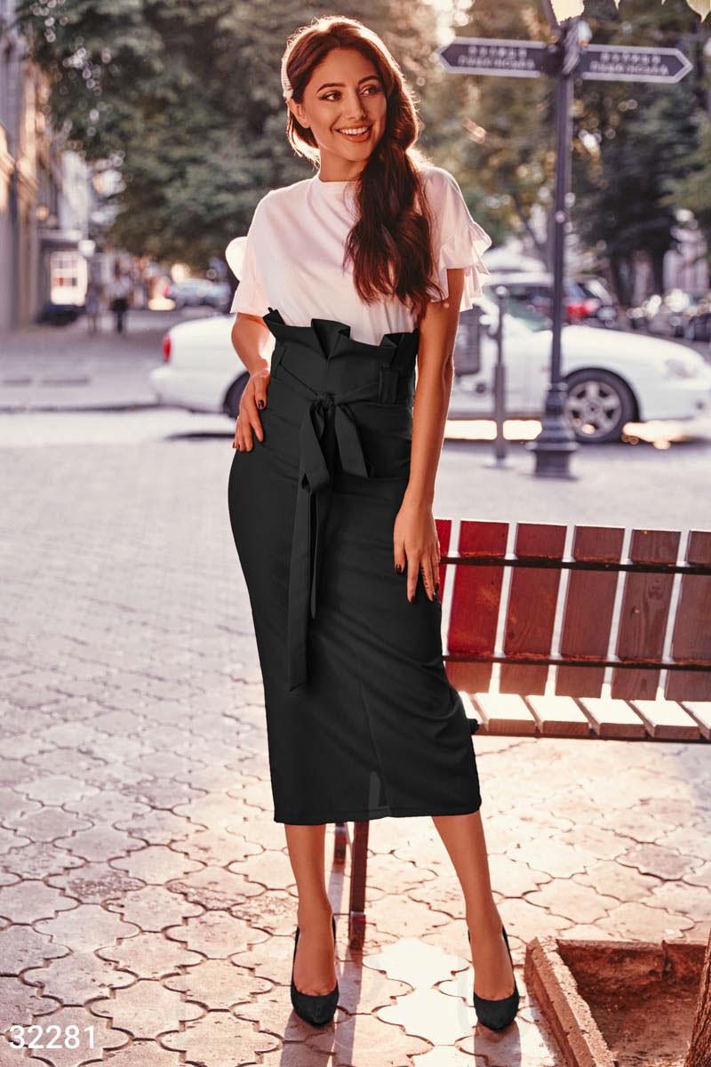 Стильная юбка с высокой талией,2 цвета L