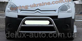 Защита переднего бампера кенгурятник из нержавейки на Peugeot Boxer 1994-2006