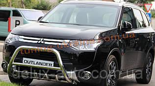 Защита переднего бампера кенгурятник из нержавейки на Mitsubishi Outlander 2014