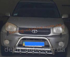Защита переднего бампера кенгурятник из нержавейки на Toyota Rav4 2000-2006