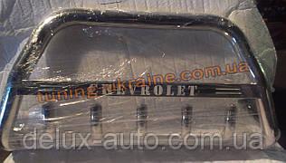Защита переднего бампера кенгурятник с надписью  из нержавейки на Chevrolet Captiva 2006-2011