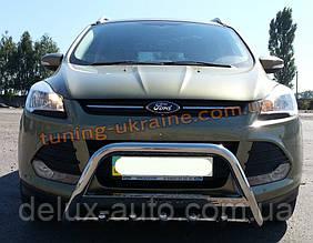 Защита переднего бампера кенгурятник с надписью  из нержавейки на Ford Kuga 2012