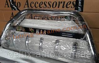 Защита переднего бампера кенгурятник с надписью  из нержавейки на Kia Sorento 2002-2009