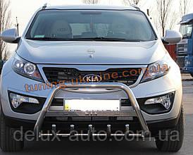 Защита переднего бампера кенгурятник с надписью  из нержавейки на Kia Sportage 2010-2015