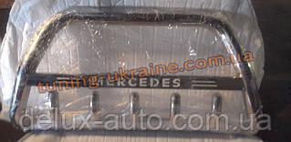 Защита переднего бампера кенгурятник с надписью  из нержавейки на Mercedes ML W163 1997-2005