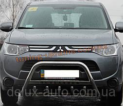 Защита переднего бампера кенгурятник с надписью  из нержавейки на Mitsubishi Outlander 2012-2014
