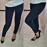 Женские стильные брюки с лампасами №055 (р.42-52) черный