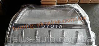 Защита переднего бампера кенгурятник с надписью  из нержавейки на Toyota Highlander 2007-2013