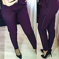 Женские стильные брюки с лампасами №055 (р.42-52) марсала