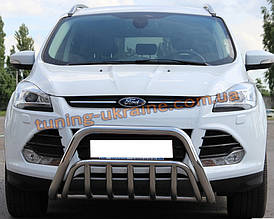 Защита переднего бампера кенгурятник из нержавейки на Ford Kuga 2012