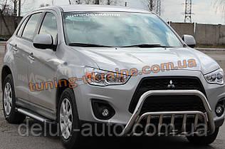 Защита переднего бампера кенгурятник из нержавейки на Mitsubishi ASX 2012