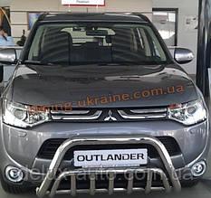 Защита переднего бампера кенгурятник из нержавейки на Mitsubishi Outlander 2012-2014