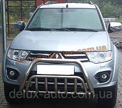 Защита переднего бампера кенгурятник из нержавейки на Mitsubishi Pajero Sport 2008-2015