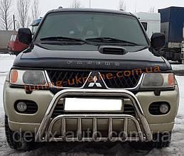 Защита переднего бампера кенгурятник из нержавейки на Mitsubishi Pajero Sport 1998-2008