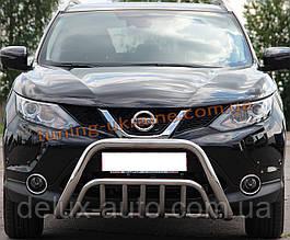 Защита переднего бампера кенгурятник из нержавейки на Nissan Qashqai 2014