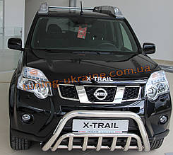 Защита переднего бампера кенгурятник из нержавейки на Nissan X-Trail 2007-2014