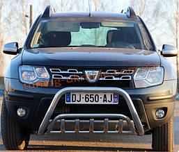 Защита переднего бампера кенгурятник из нержавейки на Renault Duster 2010-2015