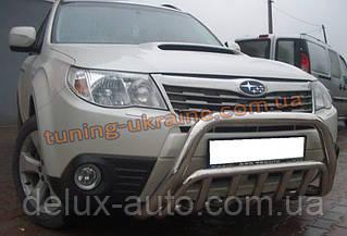 Защита переднего бампера кенгурятник из нержавейки на Subaru Forester 2008-2012