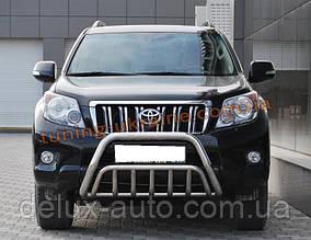 Защита переднего бампера кенгурятник из нержавейки на Toyota Prado 150 2009-2013