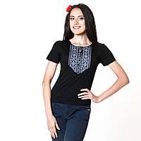 Женская вышитая футболка. Мережка серебро, фото 1