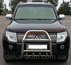 Защита переднего бампера кенгурятник из нержавейки на Mitsubishi Pajero Wagon 2006-2014