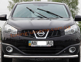 Защита переднего бампера труба одинарная из нержавейки на Nissan Qashqai 2006-2011