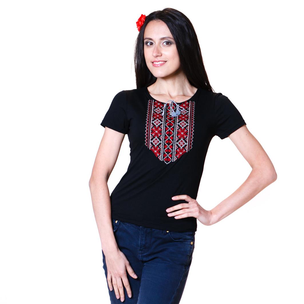 """Вышитая футболка """"Мережка красная"""", фото 1"""